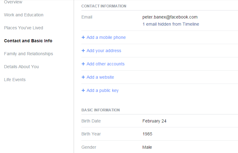 Facebook Click on Contact and Basic Info