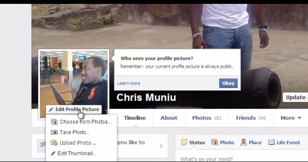 Facebook Click on Edit Profile Picture
