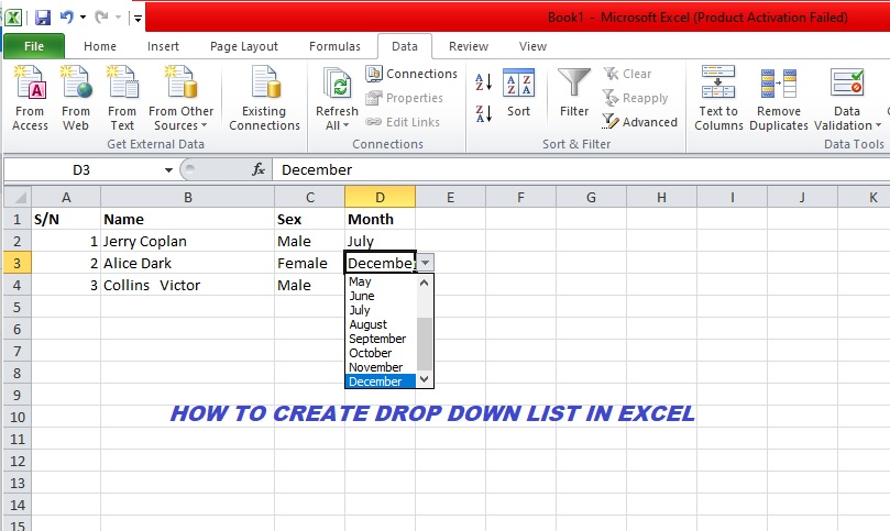 how to create drop down list in excel
