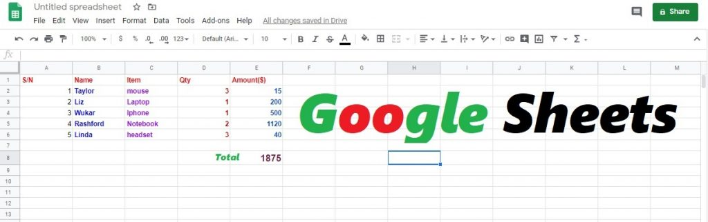 this is google sheets images
